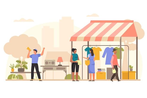 Ilustración de mercado de pulgas dibujado a mano plana con personas