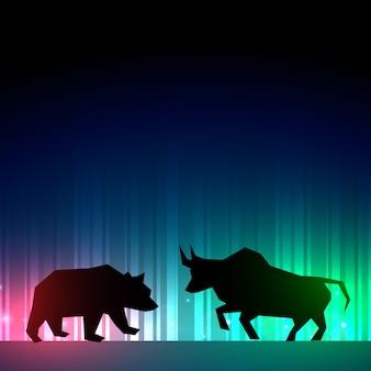 Ilustración de mercado de valores con toro y oso