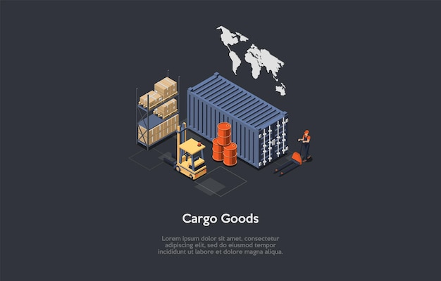 Ilustración de mercancías de carga en el almacén circundante. composición en estilo de dibujos animados 3d.