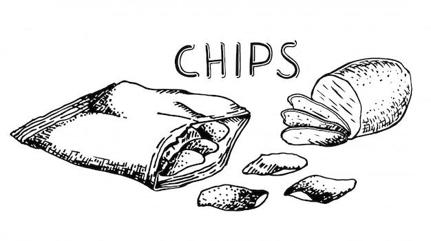 Ilustración de merienda y comida chatarra dibujado a mano. patatas fritas. boceto de estilo vintage.