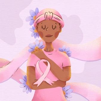 Ilustración de mes de concientización sobre el cáncer de mama en acuarela