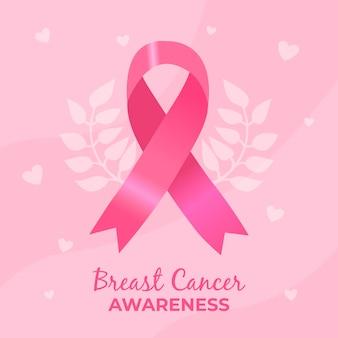 Ilustración del mes de concientización sobre el cáncer de mama con cinta rosa