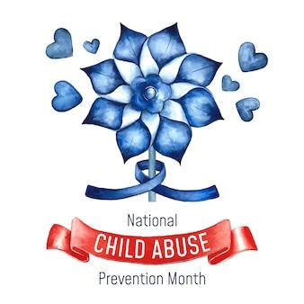 Ilustración del mes nacional de prevención del abuso infantil en acuarela