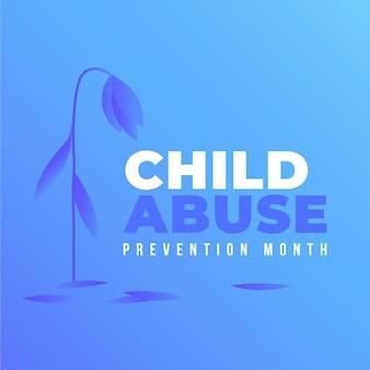 Ilustración del mes de prevención del abuso infantil nacional degradado