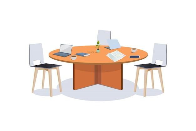 Ilustración de la mesa de reuniones de negocios