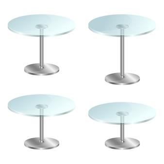Ilustración de mesa de vidrio transparente sobre fondo blanco.