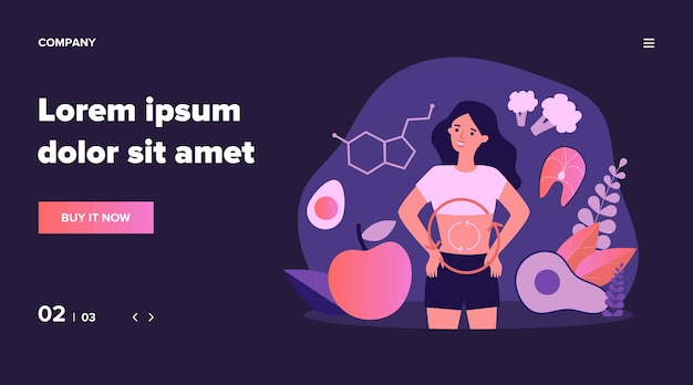 Ilustración del metabolismo del organismo humano. mujer joven de dibujos animados comiendo alimentos dietéticos para obtener energía. concepto de digestión, sistema metabólico y hormonas.