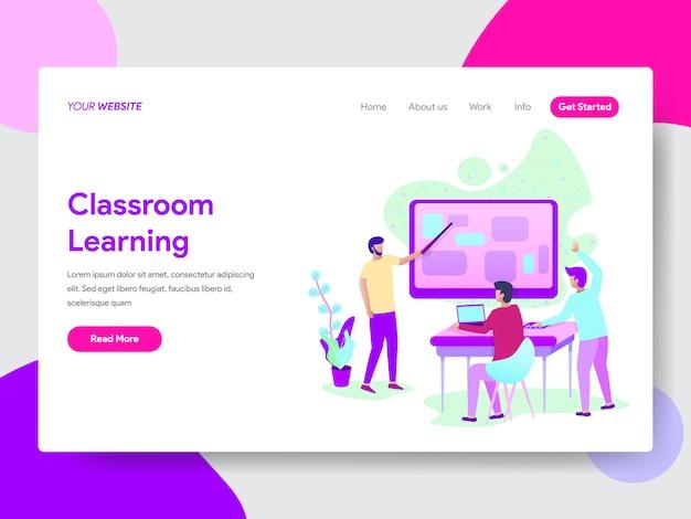 Ilustración del método de aprendizaje en el aula para páginas web