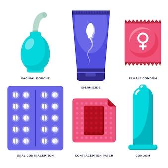 Ilustración de métodos anticonceptivos
