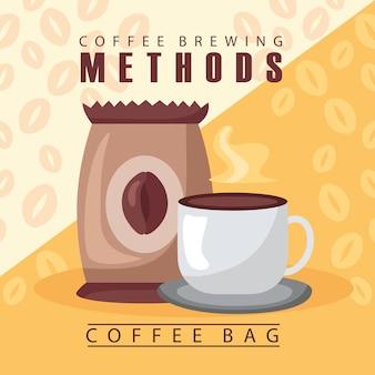 Ilustración de métodos de preparación de café con bolsa y taza