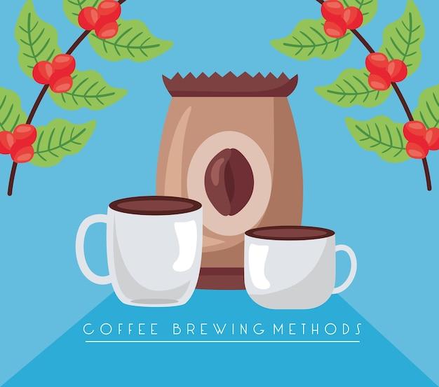 Ilustración de métodos de preparación de café con bolsa y tazas.