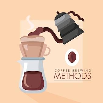 Ilustración de métodos de preparación de café con hervidor y cafetera.