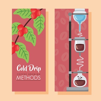 Ilustración de métodos de preparación de café con máquina de goteo frío