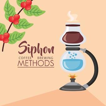 Ilustración de métodos de preparación de café con quemador de sifón y planta