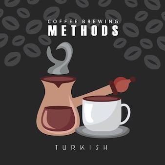 Ilustración de métodos de preparación de café con taza y cafetera turca