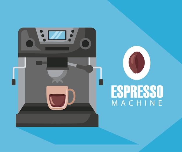 Ilustración de métodos de preparación de café con taza en máquina espresso