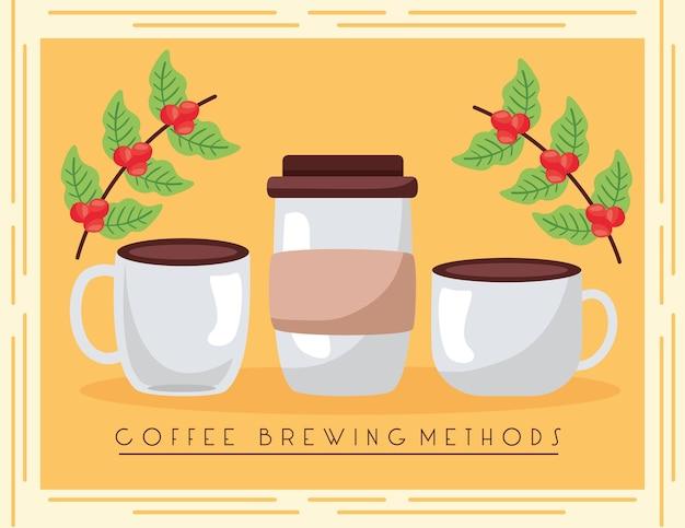Ilustración de métodos de preparación de café con tazas y plantas.