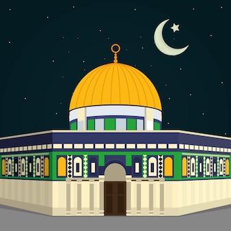 Ilustración de la mezquita de aqsa y la luna creciente