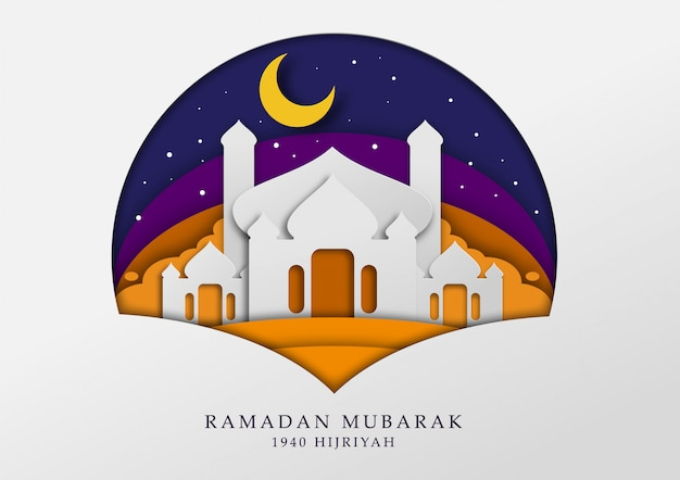 Ilustración de la mezquita masjid en papercut para ramadán, tarjeta de felicitación y papel tapiz