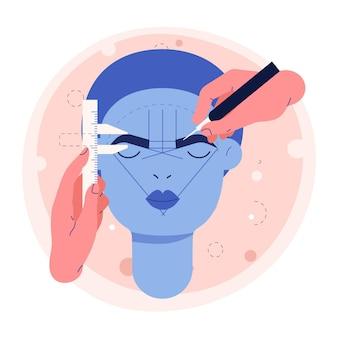 Ilustración de microblading dibujado a mano plana