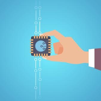 Ilustración de microchip aislado sobre fondo azul