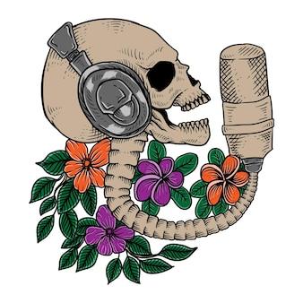 La ilustración de micrófono dibujado a mano se puede utilizar para carteles, portada de pancartas, revista, diseño de camisetas