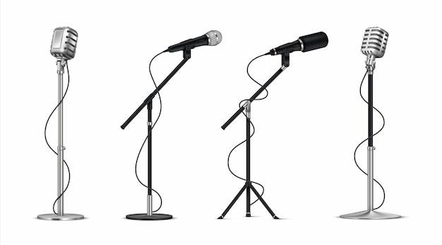 Ilustración de micrófonos realistas