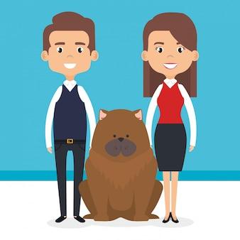 Ilustración de miembros de la familia con personajes de mascotas