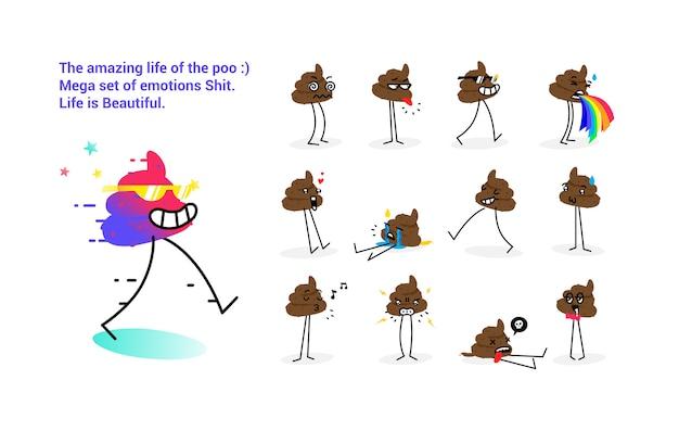 Ilustración de la mierda. un conjunto de emociones de cabra. ilustracion vectorial