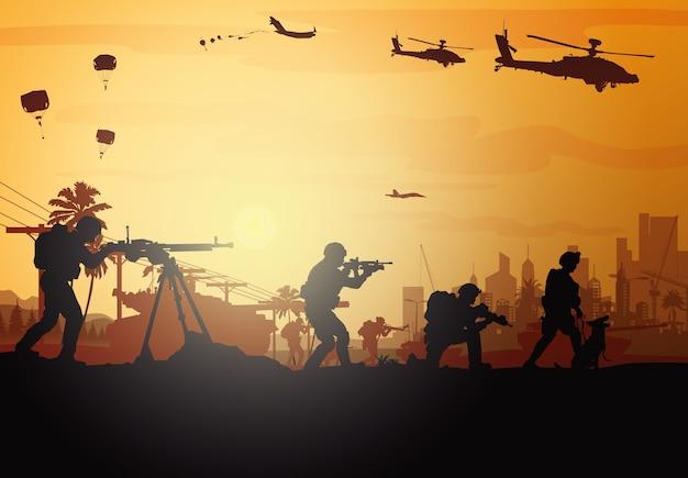 Ilustración militar, fondo del ejército, siluetas de soldados.