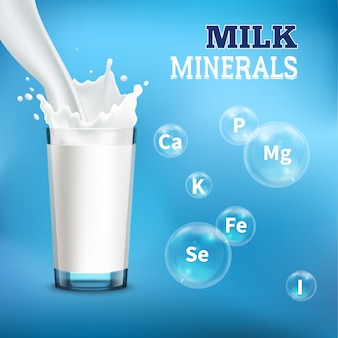 Ilustración de minerales y vitaminas de leche