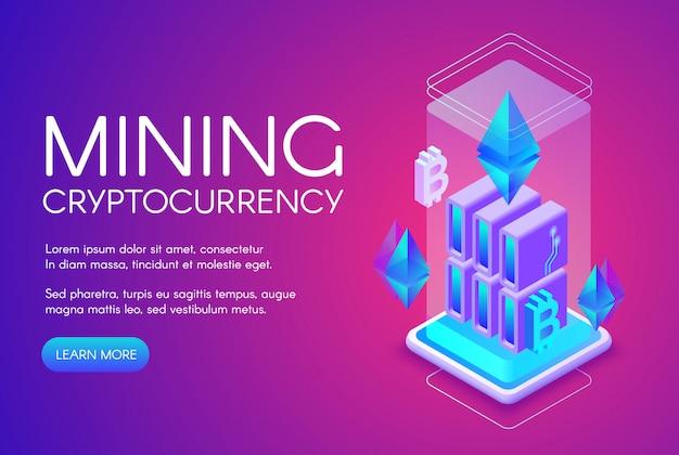Ilustración de minería de criptomonedas de la granja de blockchain para bitcoin en la plataforma de servidor ethereum