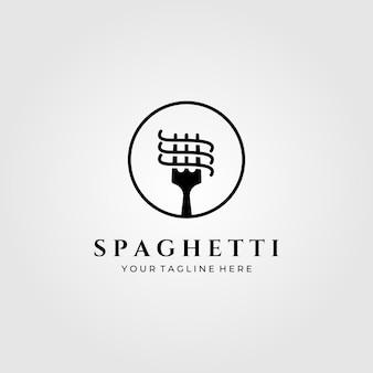 Ilustración minimalista del logotipo de pasta de espagueti