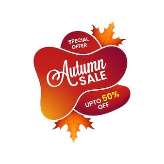 Ilustración minimalista de venta de otoño con oferta especial y gran descuento.