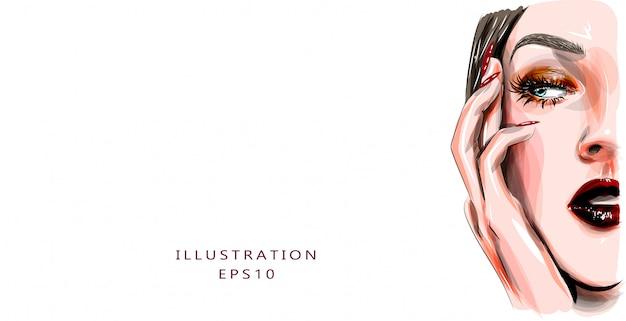 Ilustración. la mitad de la cara de una hermosa niña. maquillaje de labios rojos y pestañas largas. adecuado para imprimir y para imprimir sobre tela. concepto de belleza y cuidado personal. manicura.