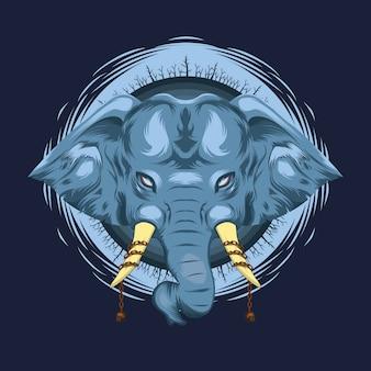 Ilustración mítica del elefante azul con marfil de cráneo encadenado y bosque muerto alrededor de la cabeza