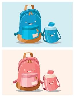 Ilustración de mochilas escolares azules y rosas con botellas de agua