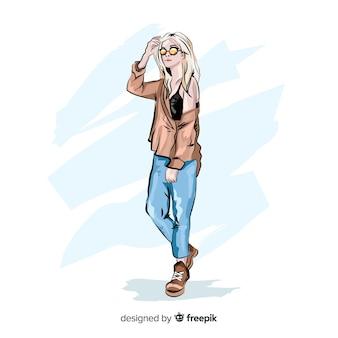 Ilustración de moda con modelo femenino