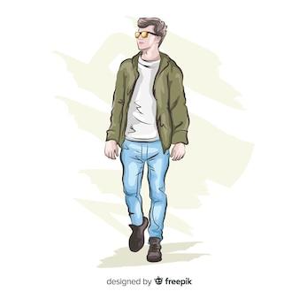 Ilustración de moda con modelo masculino