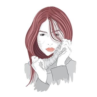Ilustración de moda niña de vector con suéter