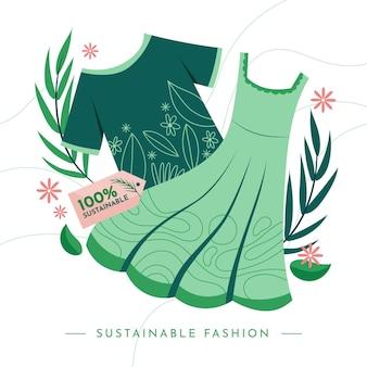 Ilustración de moda sostenible dibujada a mano plana con graments