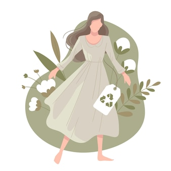 Ilustración de moda sostenible dibujada a mano plana con mujer y algodón