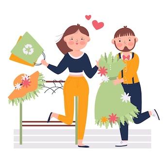 Ilustración de moda sostenible dibujada a mano plana con pareja de compras