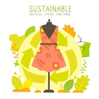 Ilustración de moda sostenible dibujada a mano plana