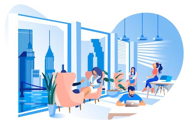 Ilustración moderna del ambiente de trabajo de la oficina de coworking