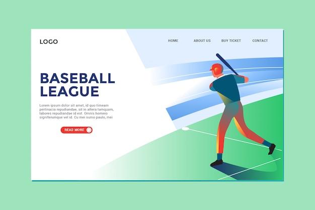 Ilustración moderna de béisbol y página de aterrizaje