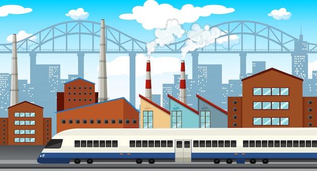 Una ilustración moderna de la ciudad industrial.