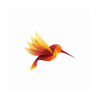 Ilustración moderna colorida del logotipo del colibrí