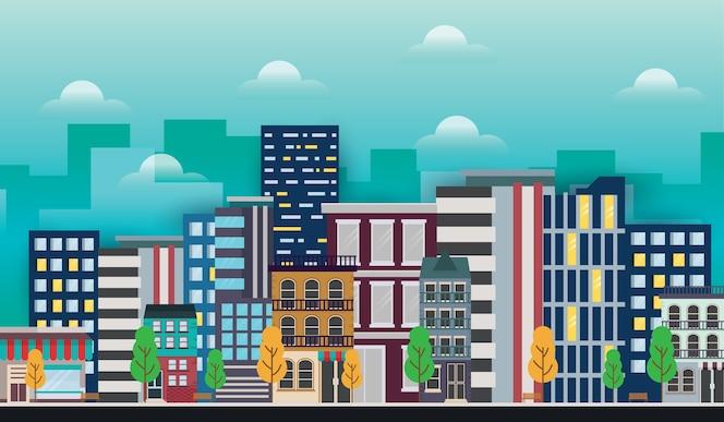 Ilustración moderna del paisaje urbano