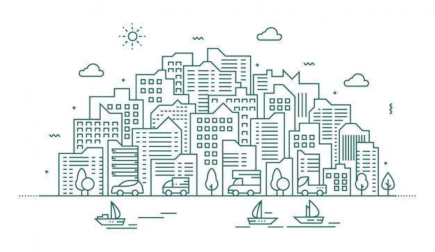 Ilustración moderna de la gran ciudad